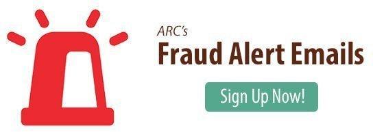 Sign up for ARC's fraud alert emails