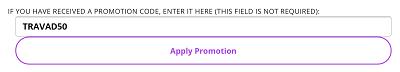Screenshot of IGLTA promo code box