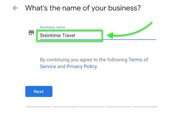Step 2 - Google My Business Name