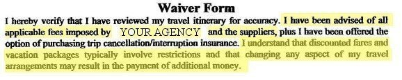travel waiver fees