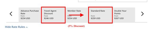 Hyatt Travel Agent Discounts example
