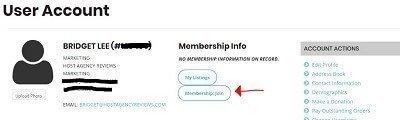 Screenshot of how to add a membership to IGLTA account