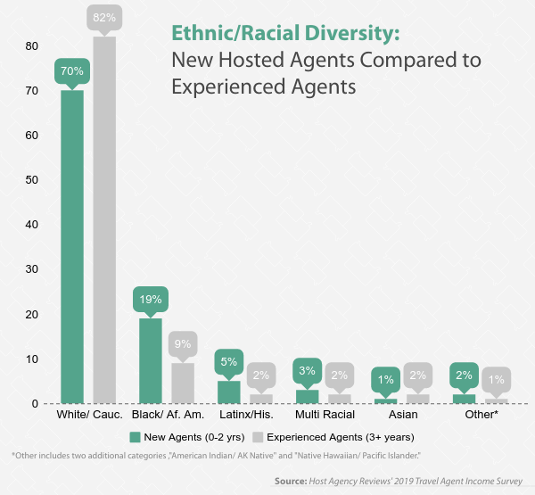 Diversity Among New Hosted Travel Agents Compared to Experienced Agents, 2019
