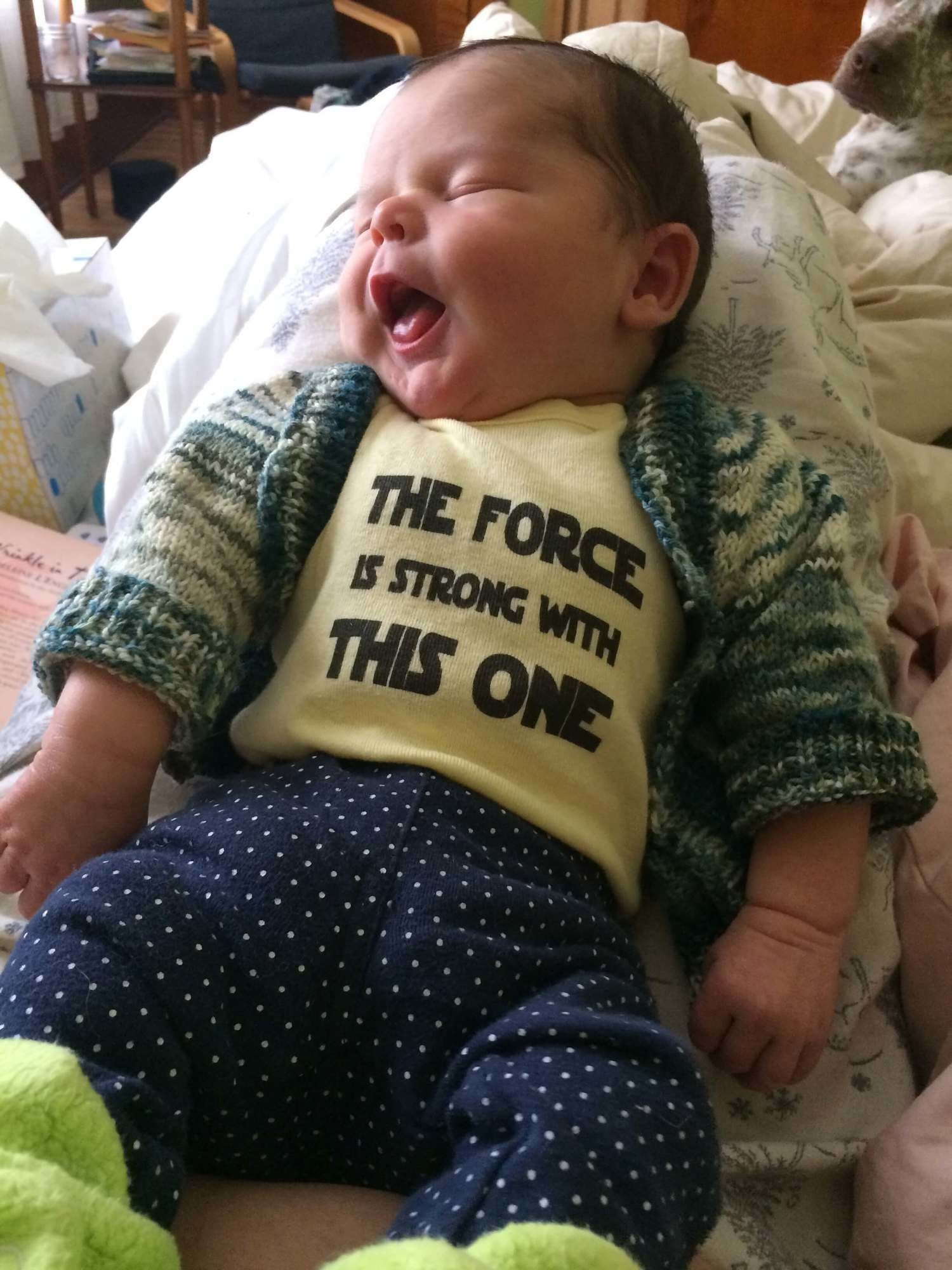 """Avi wearing a shirt that says """"The force is strong with this one"""""""