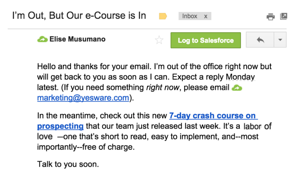 out of office message example