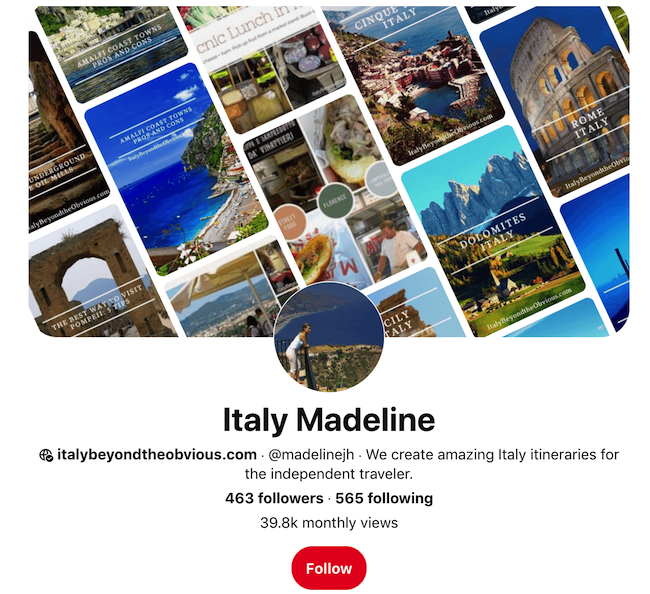 Travel Agency Pinterest Example