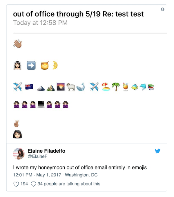 Out of office message written entirely in emojis