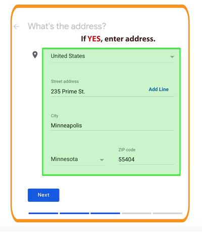 Step 5 - Google My Business Location