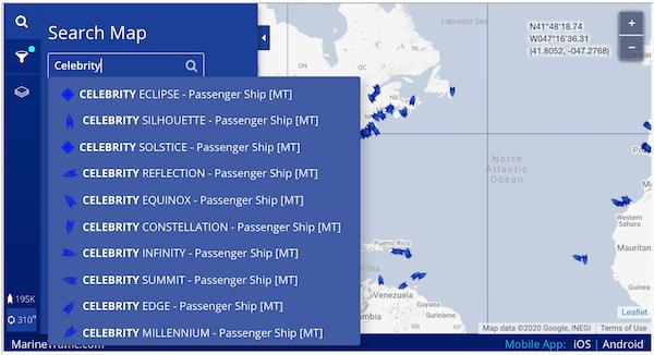 Cruise Ship Tracker: Vessel Search Step 2