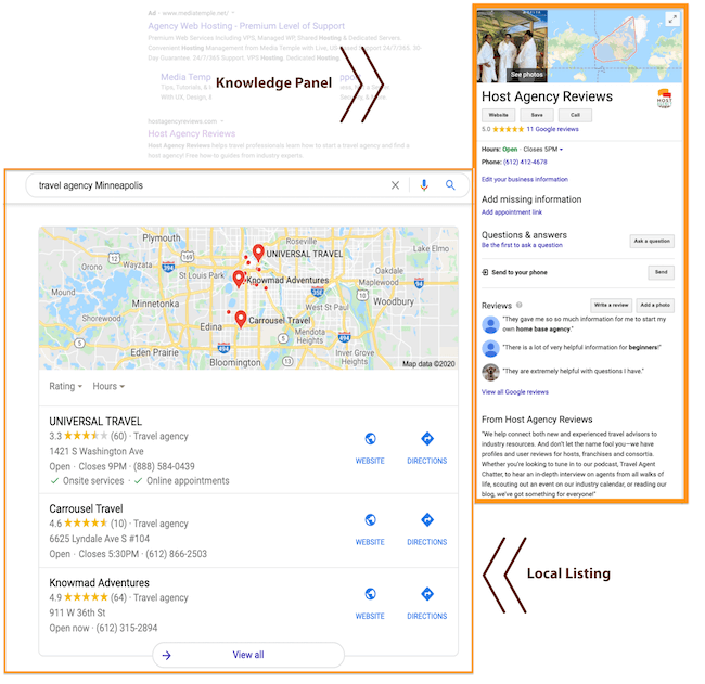 Google My Business Local Search and Knowledge Panel