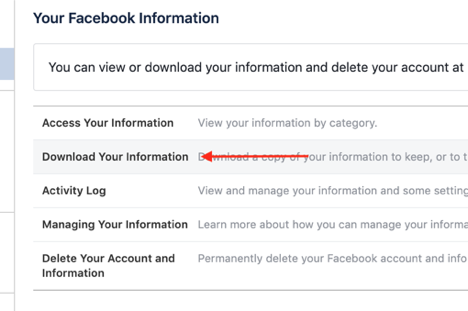Download Facebook Networking Data, Step 3
