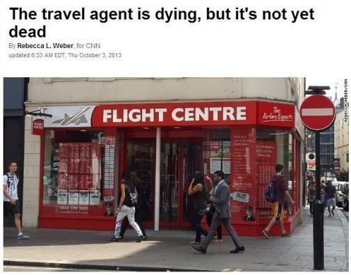 Travel agent is dying CNN article