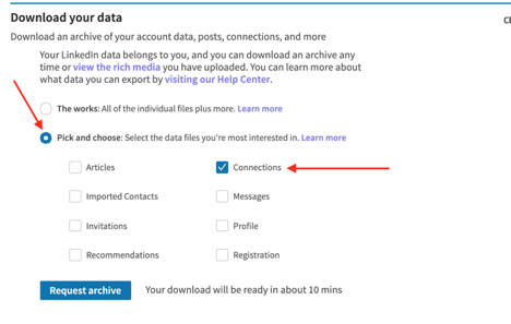 Download LinkedIn Connections, Step 5