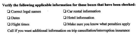 Travel Waiver: Information is Correct