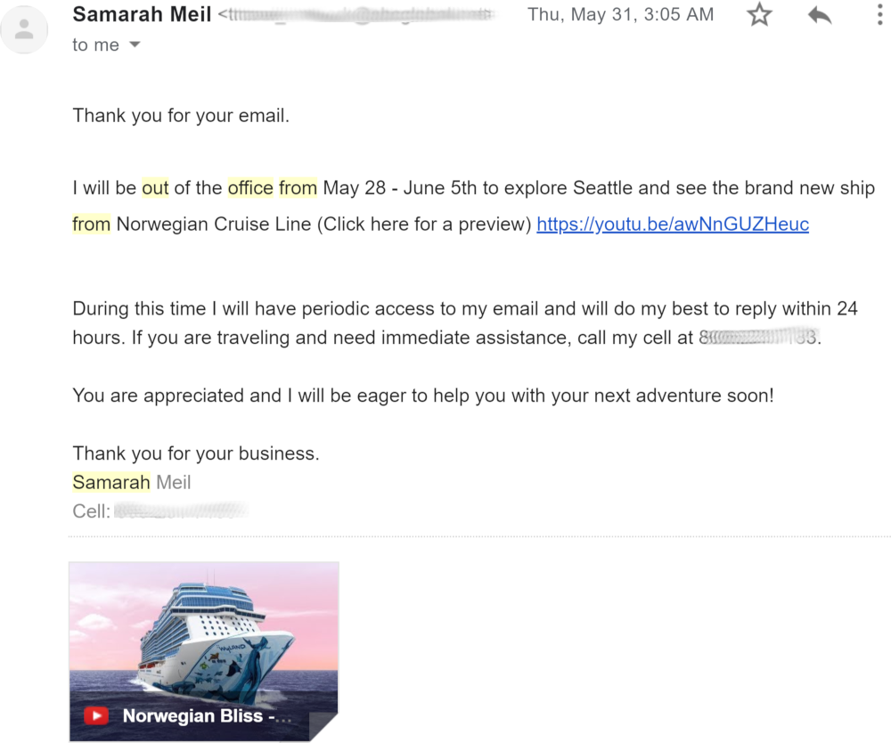 out of office reply example business trip travel agent