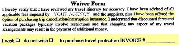 travel waiver trip insurance