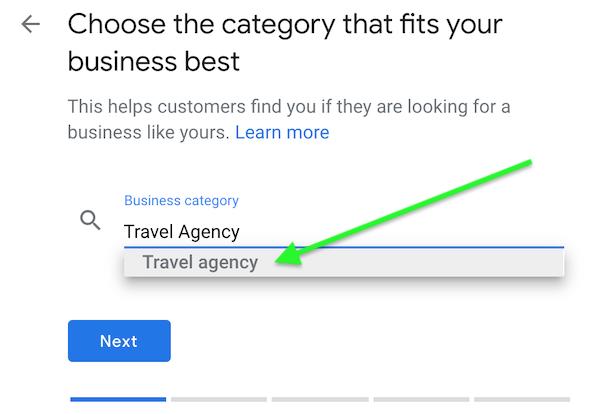 Step 3- Google My Business Category