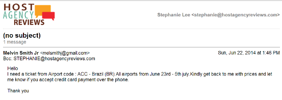 Email request for Fraudulent air booking