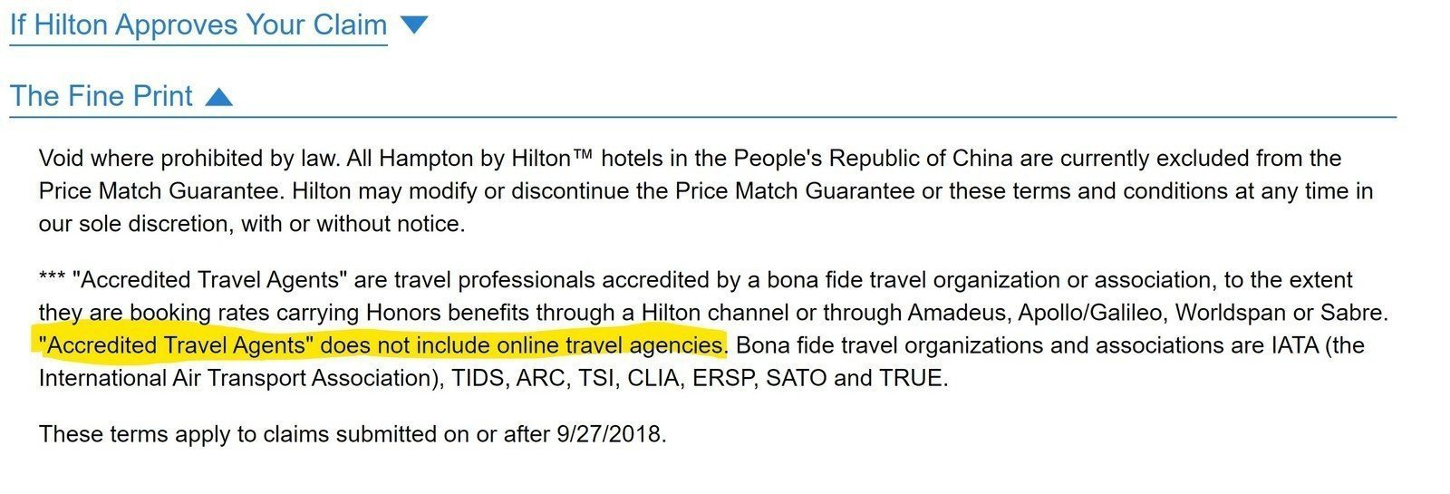 Booking direct vs. travel agent with Hilton Price Guarantee. Agents get same pricing, OTAs do not