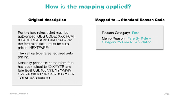 Travel agent debit memo: how mapping is applied