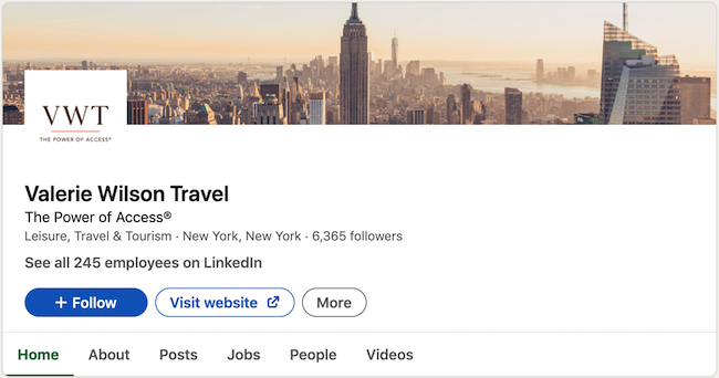 Travel Agent LinkedIn Example