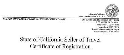 State of California Seller of Travel Certificate of Registration