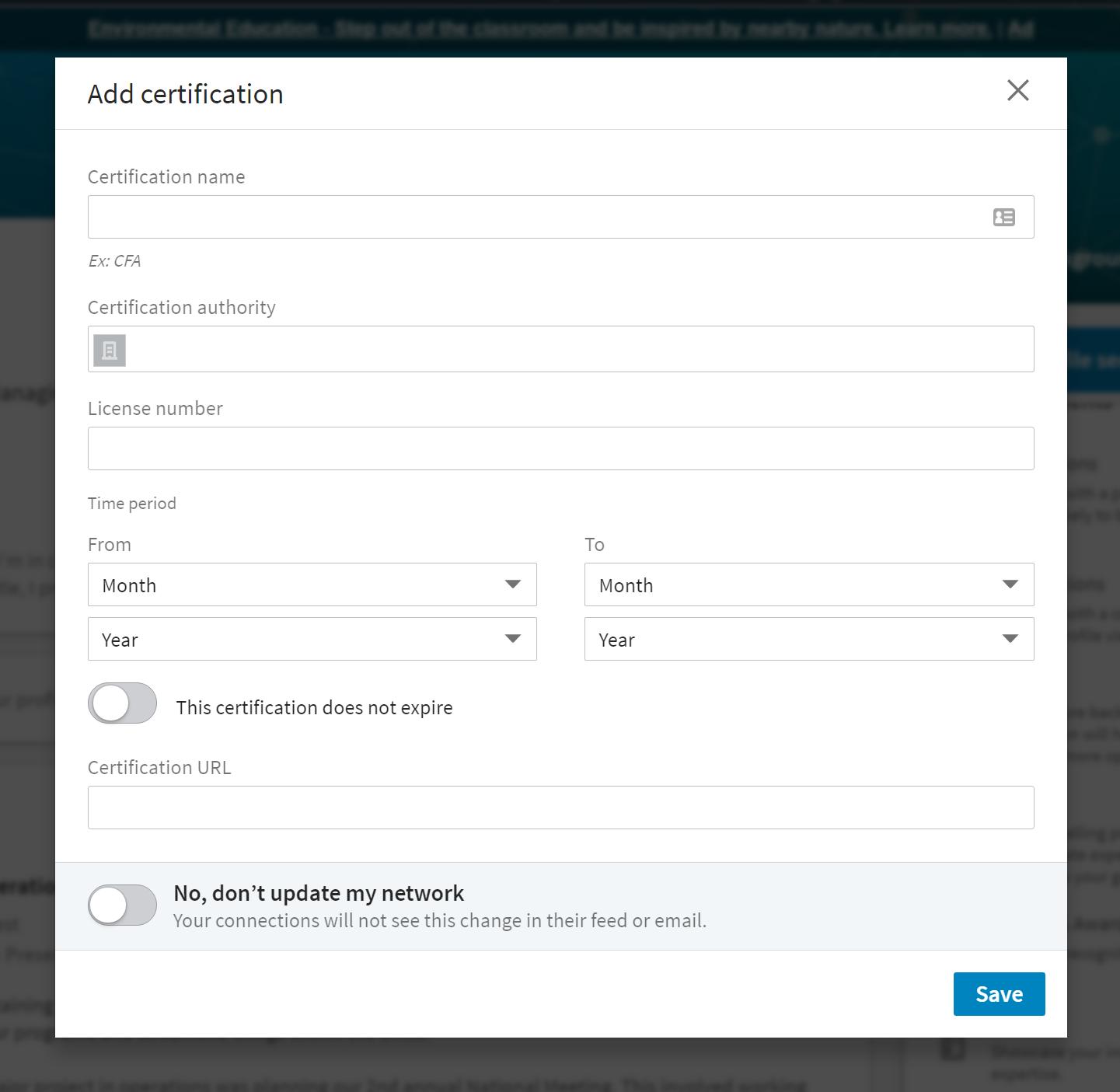 Add certification on LinkedIn