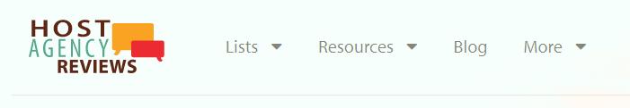 Host Agency Reviews' menu/navigation bar