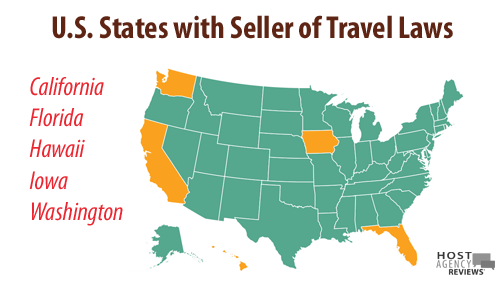 US States with Seller of Travel Laws: CA, FL, HI, IA, WA