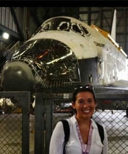 Steph in front of Space Shuttle Discovery
