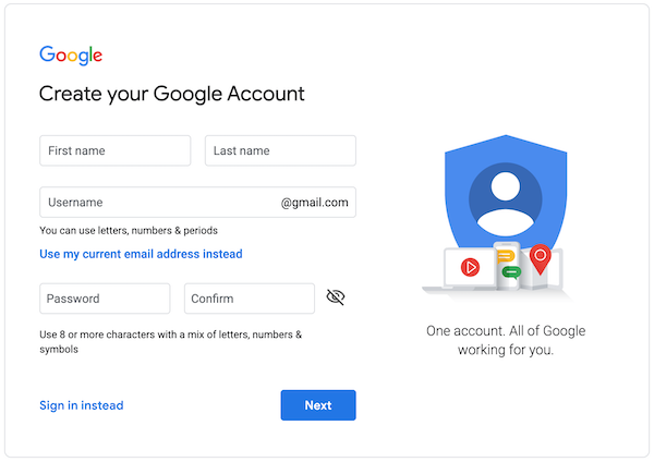 Create Google Account Step 1