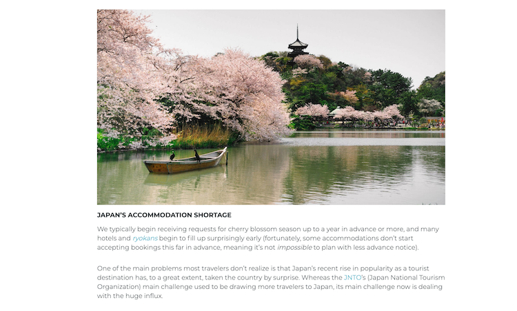 Travel Agent Chatter Vol. 12, Boutique Japan blog image of cherry blossom season