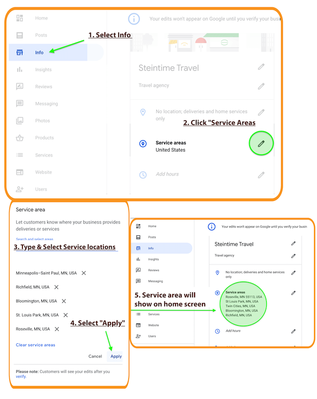 Set Service Area Locations on Google My Business