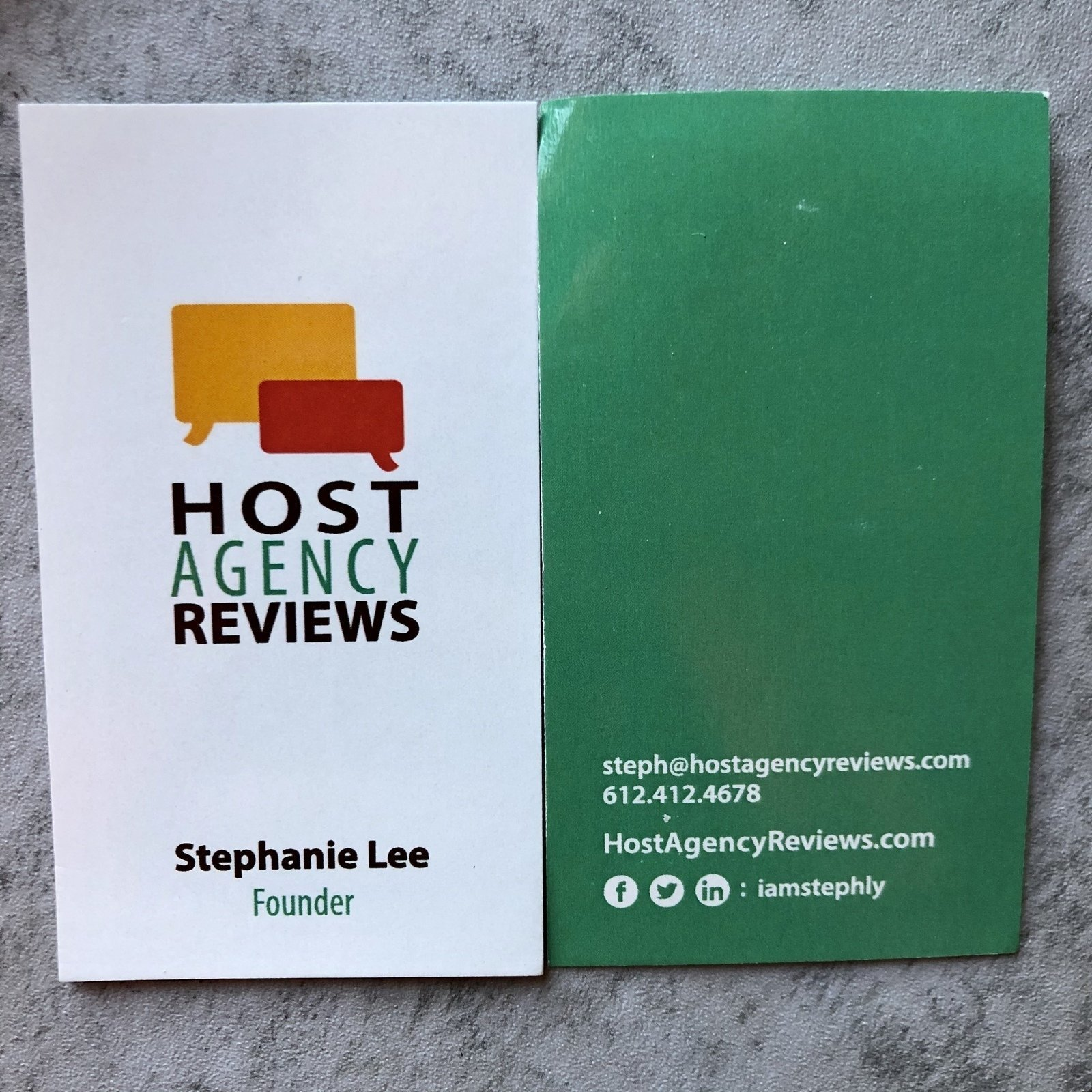 Host Agency Reviews business cards