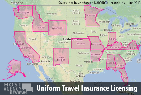 Uniform Travel Insurance Licensing Adopted Map