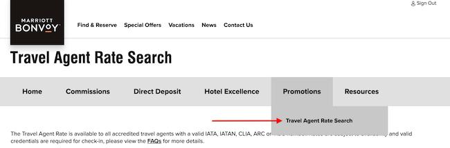 Marriott Travel Agent Programs