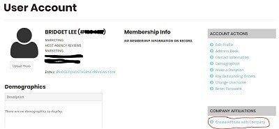 Screenshot of how to create a company on IGLTA
